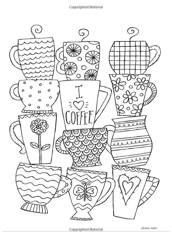 Cup Doodles Perfect For You Bullet Journal Planner Or Sketchbook Coloring Books Coloring Cafe Coloring Book Pages