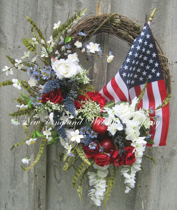 Patriotic Wreath, Americana Wreath, Fourth of July Decor, Memorial Day, Veteran's Day,