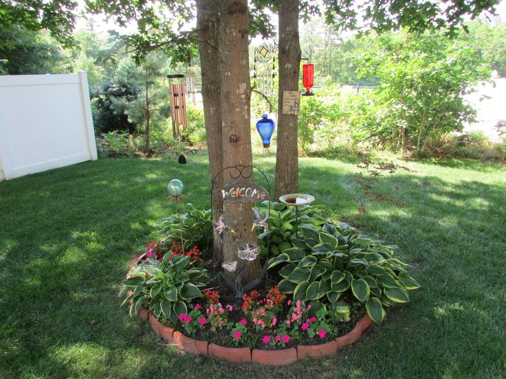Small flower bed around tree cluster yard ideas for Backyard flower bed ideas