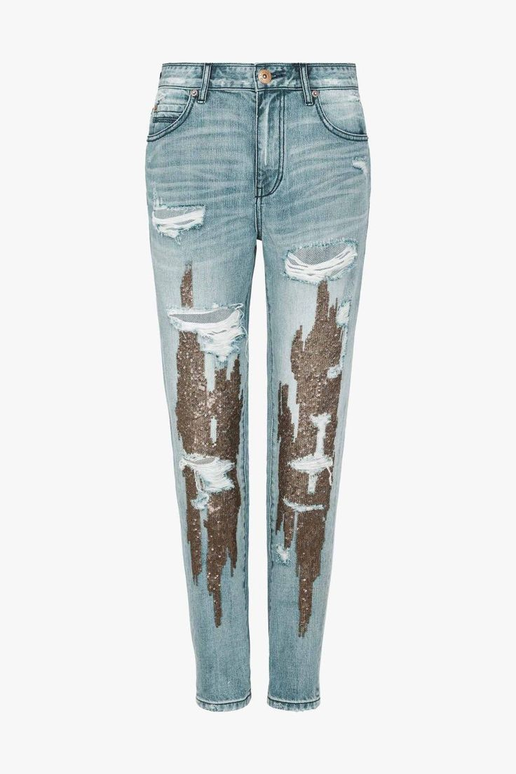 Embellished Drop Crotch Jeans