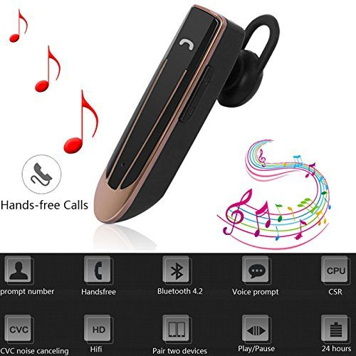 Bluetooth Earpiece Wireless Headset with Mic Handsfree Headphone Stereo Earphone with 22 Hours long Talk Time 18 Hours Music Time For Listening Music Answering Call (Black) #Bluetooth #Earpiece #Wireless #Headset #with #Handsfree #Headphone #Stereo #Earphone #Hours #long #Talk #Time #Music #Listening #Answering #Call #(Black)