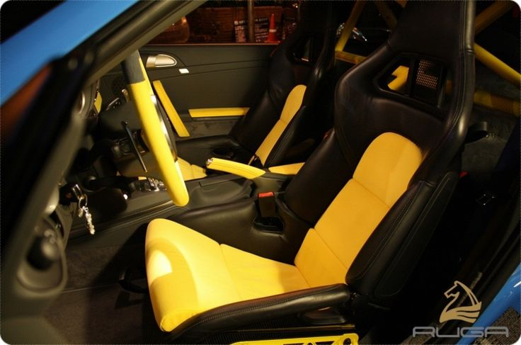 porsche 997 turbo mk2 blue with yellow and black interior red contrast stitching auto. Black Bedroom Furniture Sets. Home Design Ideas