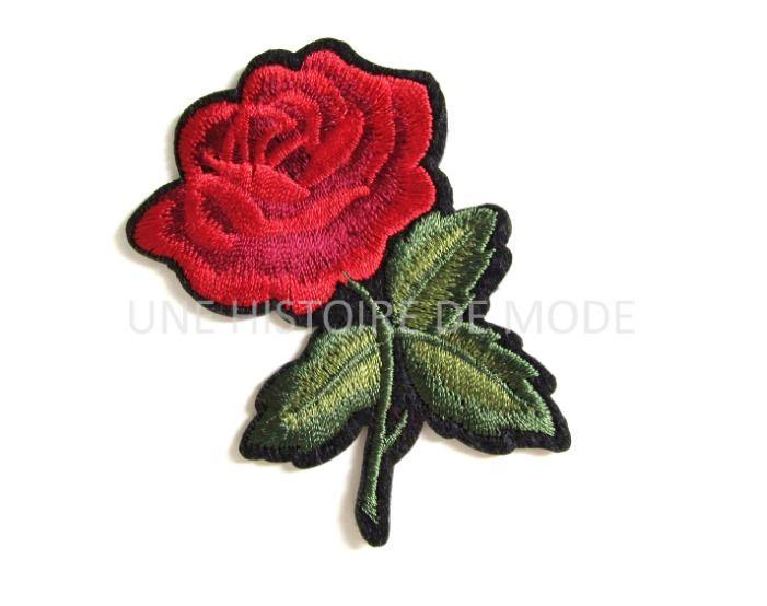 Patch , écusson thermocollant fleur rouge et bordeaux avec feuilles à coudre ou repasser 70 x 50 mm - applique fleur couture - écusson fleur : Déco, Customisation Textile par une-histoire-de-mode