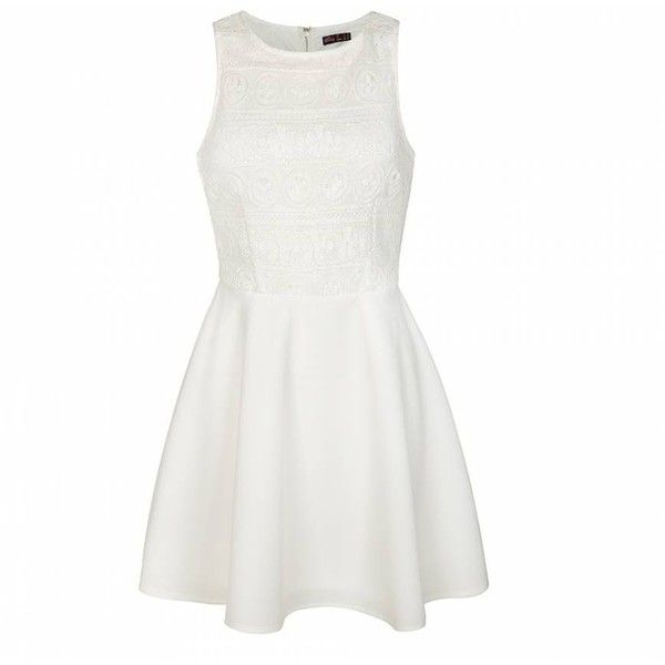 Ally Fashion Lace bodice skater dress ($29) ❤ liked on Polyvore featuring dresses, vestidos, short dresses, white, white dress, skater dress, lacy white dress and lace dress