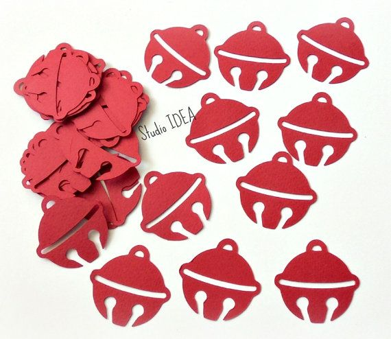 40 Red Jiingle Bell 15 Cut outs or Choose Your by StudioIdea