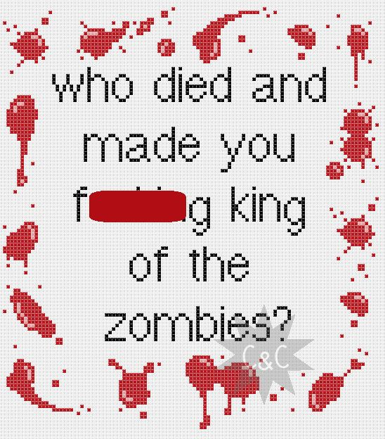 Shaun of the Dead 'King of the Zombies' quote by CapesAndCrafts, £2.30