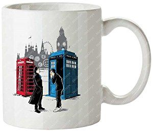 Doctor Who David Tennant Benedict Cumberbatch Sherlock Sherlock Holmes Mashup Personalized Coffee Cups