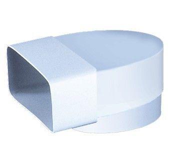 Cot tubulatura rectangulara la tubulatura circulara Blauberg PlastiVent - 60mm x 204mm - Diametru 150mm, 90 grade