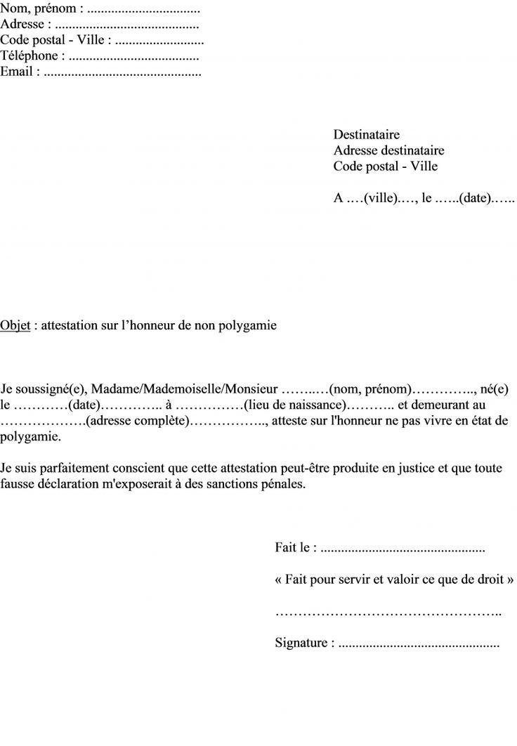 mod u00e8le attestation sur l u0026 39 honneur non