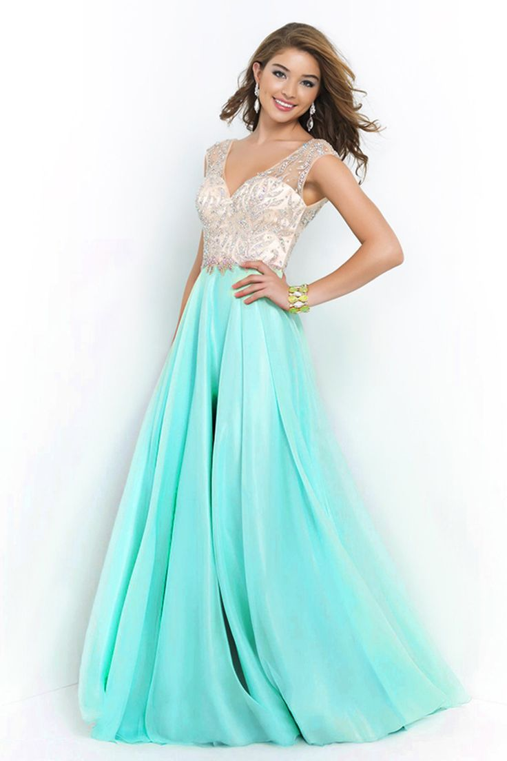 2015 V Neck Prom Dresses A Line Beaded Bodice Sweep Train Chiffon And Tulle $149.99 ~ElleProm http://www.elleprom.com/2015-V-Neck-Prom-Dresses-A-Line-Beaded-Bodice-Sweep-Train-Chiffon-And-Tulle?fr=edm_weekly_20150206