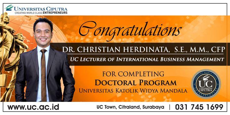 Congratulation DR. Christian Herdinata, SE., MM., CFP. for completing doctoral program