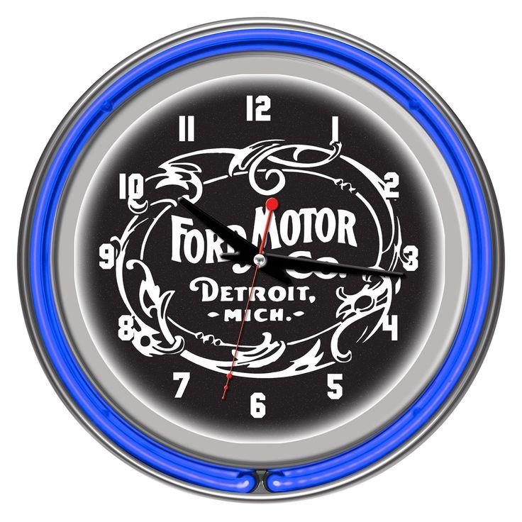 Vintage 1903 Ford Motor Company Neon Wall Clock - FD1400-FM03