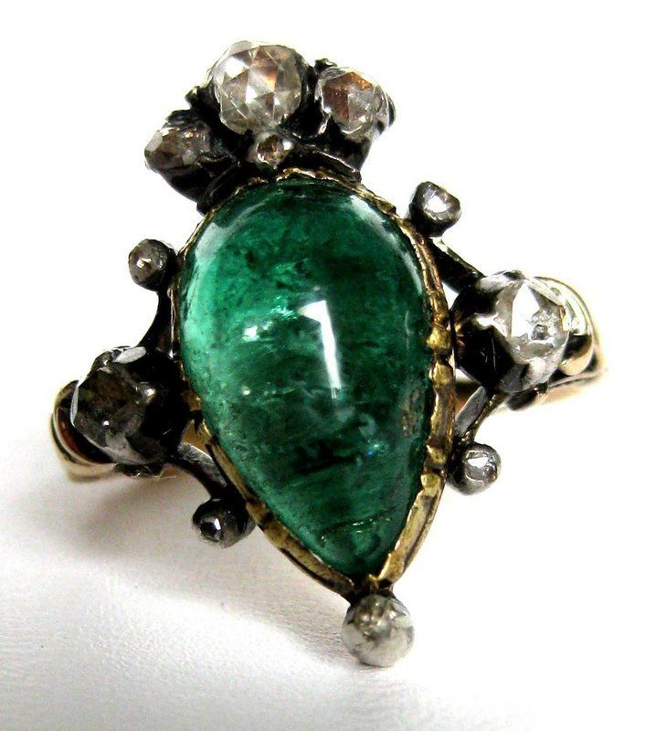 Antique Emerald Rings For Sale - Georgian Emerald & Diamond Ring For Sale | Antiques.com | Classifieds