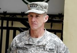General Stanley McChrystal, former war commander in Afghanistan and brilliant man. Disagreed about obama in rolling stone mag. article by Mike Hastings and was forced to resign. How too bad that no long afterwards, Hastings ran his very second-hand Mercedes into a tree and won't be down for breakfast any more. I have nothing but admiration for Gen. McChrystal as I would imagine the men and women in Afghanistan do, as well.