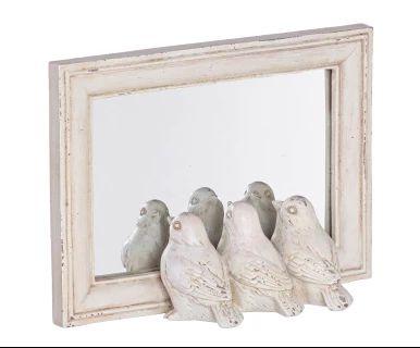 Espejo Birds, blanco roto - 21x15 cm
