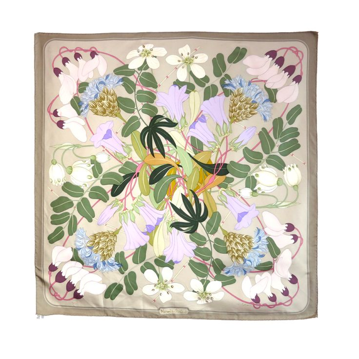 "Vintage HERMES 1983 Niki Goulandris Flora Graeca silk scarf 35"""