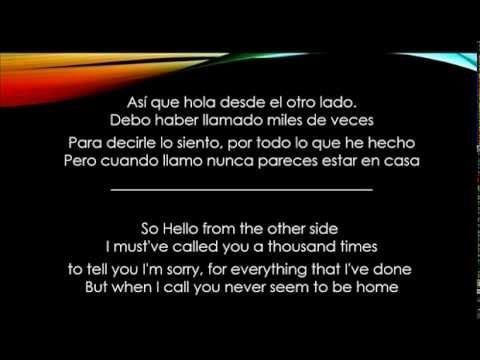 Hello - Adele - Letra Español/Ingles - YouTube