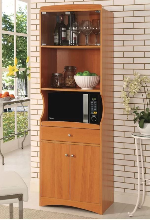 Microwave Stand Kitchen Cabinet Hutch Wood Utility Cart Storage