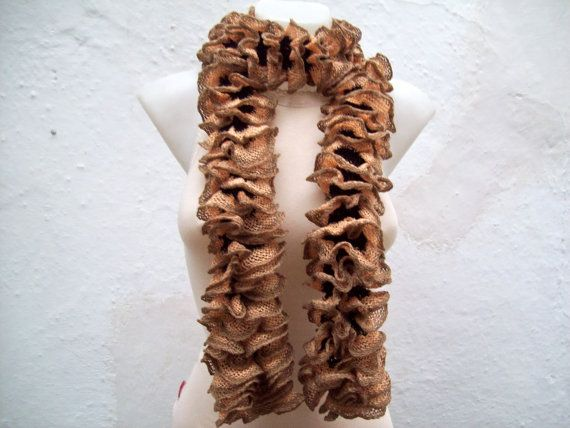 Soft Scarf   Brown  Knit Scarf Fall Fashion Frilly by scarfnurlu
