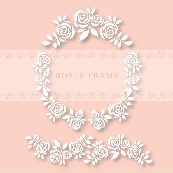 Cornice digitale floreale rose. Bordo clipart di DottyCreative