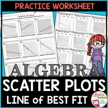 Scatter Plots and Line of Best Fit Practice Worksheet: Students will write equations for the Line of Best Fit and make predictions in this 21 question Scatter Plots Practice Worksheet. There are 9 questions asking for the Slope-Intercept Form Equation of the trend line (line of best fit) given the scatter plot and 12 questions asking students to make a prediction based on the scatter plot given the x or y value.