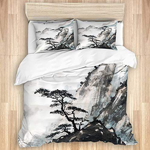 Lasinsu Parure De Lit Adultepaysage Chinois Japonais Peinture Encre De Chine Montagne Arbre Jardin1 Housse De Couette 220x2