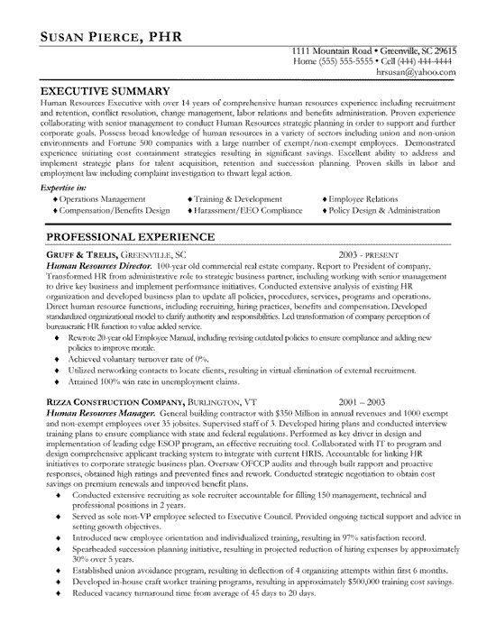 Human Resources Resume Example