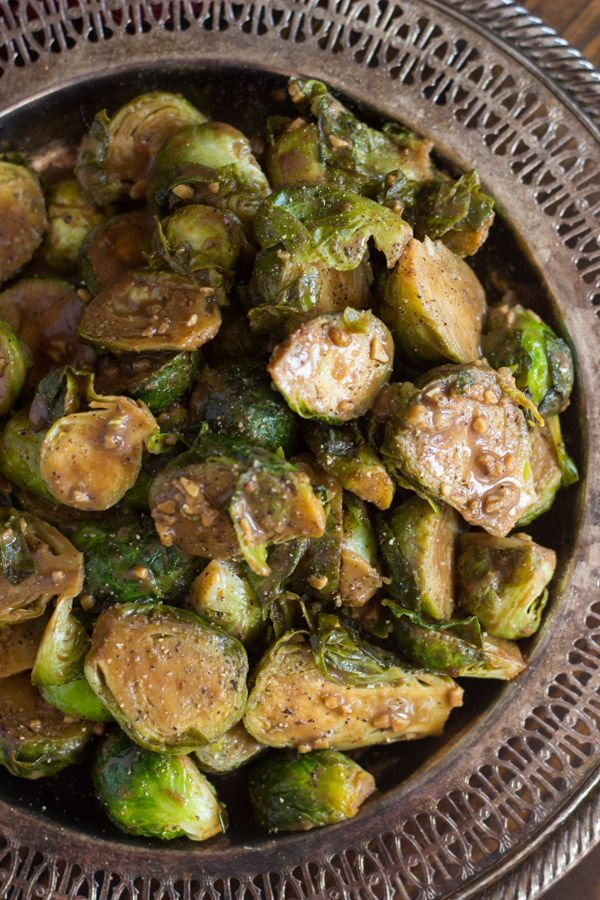 Dijon Balsamic Brussels sprouts. Pan-seared Brussels sprouts, cooked and glazed in a balsamic & dijon mustard sauce!