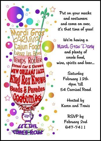 113 best Mardi Gras Invitations images on Pinterest Invitation
