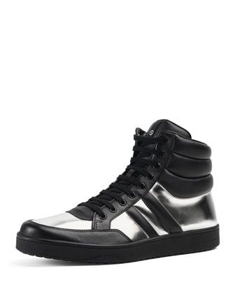 gucci shoes black and white. contrast padded leather high-top sneaker, silver/black by gucci at neiman marcus shoes black and white