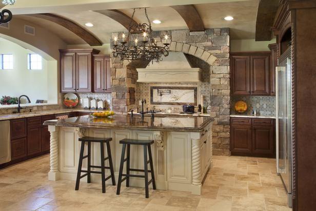 Mediterranean Kitchen in 99 Beautiful Kitchen Island Design Ideas from HGTV...could do rock around the kitchen window
