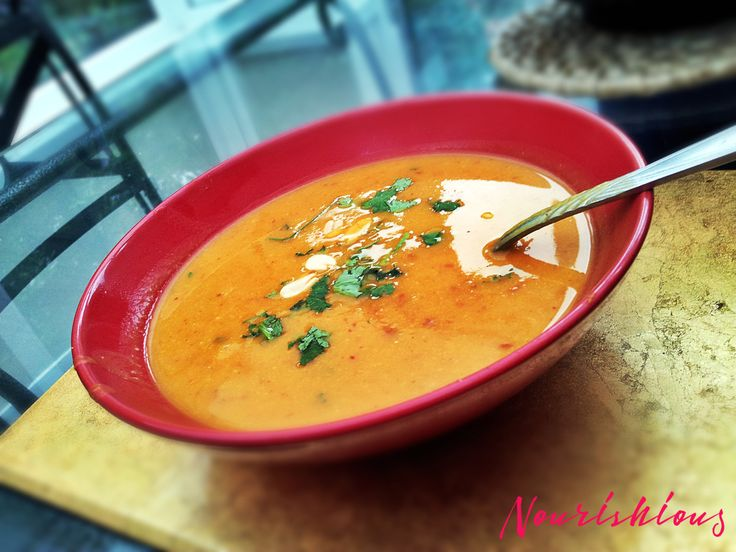 Thai butternut squash vegetarian soup.  It's a Thai red curry in a bowl with butternut squash, coconut milk and peanut butter.  It uses Thai red curry paste - read the label before you buy the paste as many contain fish sauce.