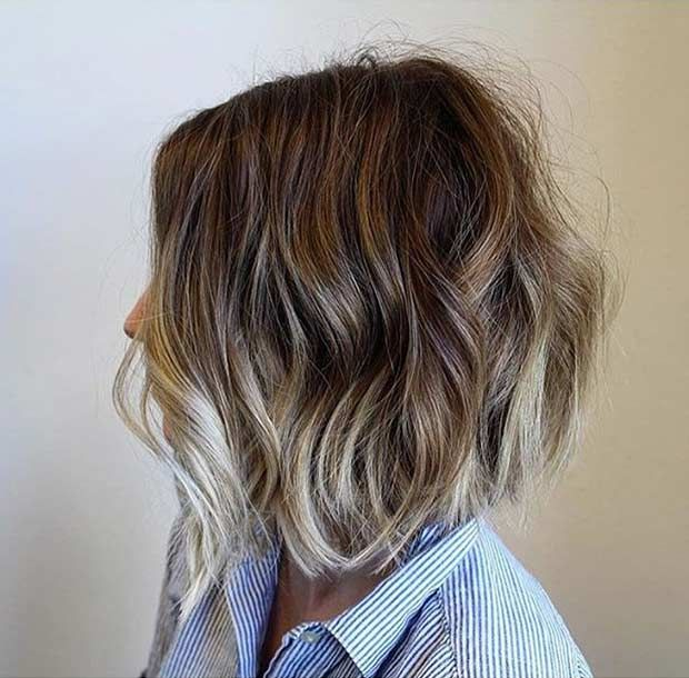 A Line Bob Haircut with Blonde Balayage Lowlights