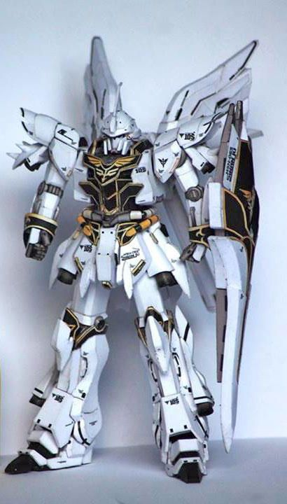 This gundam paper model is a White Comet MSN-06S Sinanju (aka Sinanju, MSN-06S), recolored and retouched by Suprayogi, based on Julius Perdana's template.