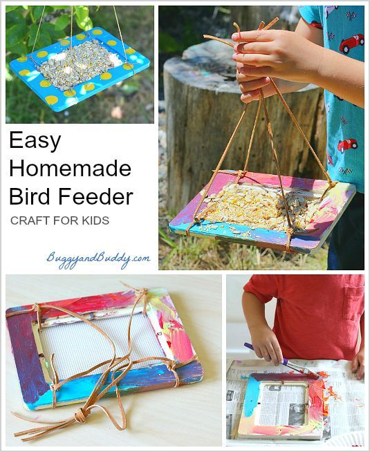 Repurpose old frames by turning them into homemade bird feeders! Such a fun and easy craft for kids! ~ BuggyandBuddy.com