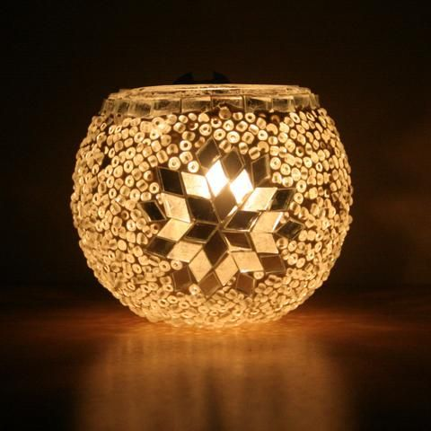 White Turkish Mosaic Tea Light Holder