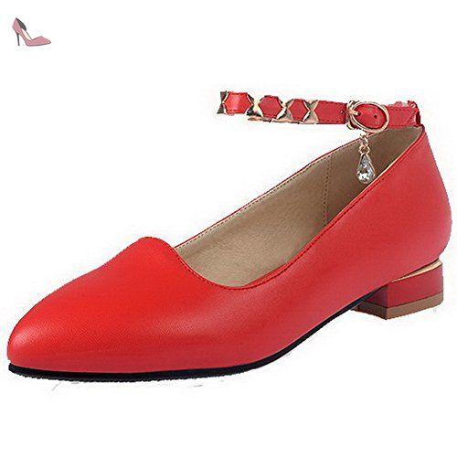 AgooLar Femme Boucle Pointu à Talon Bas Pu Cuir Mosaïque Chaussures Légeres, Rouge, 32 - Chaussures agoolar (*Partner-Link)