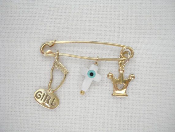 Baby girl footprint pin Baby safety pin Cross charm pin by Poppyg