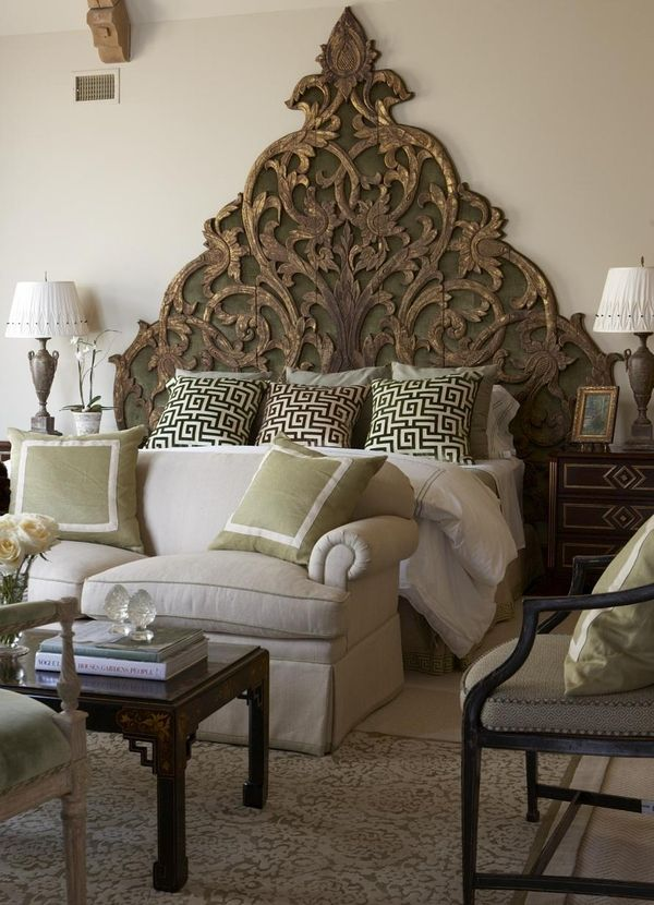 Incredibly unique headboard! An antique that designer Cindy Rinfret found  on a trip to Thailand