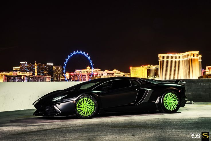 matte black lamborghini aventador on lime green savini rims cars i