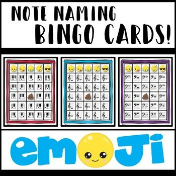 Bingo is a great way to reinforce music theory concepts! Included in your purchase: 6 sets of leveled note naming bingo cards - Emoji Edition Notes on keyboard (C-G) - 5 different cards Notes on keyboard (A-G) - 5 different cards Notes on Staff (middle C - G4) - 5 different cards Notes on Staff (middle C - B4) - 5 different cards Notes on Staff (bass clef C3-G3) - 5 different cards Notes on Staff (bass clef C3-B3) - 5 different cards