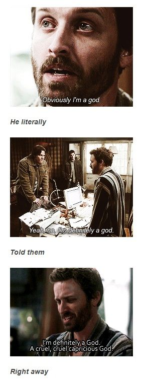 He literally told them right away #Supernatural]<<< It's like the supernatural fandom's version of oblivious Arthur.