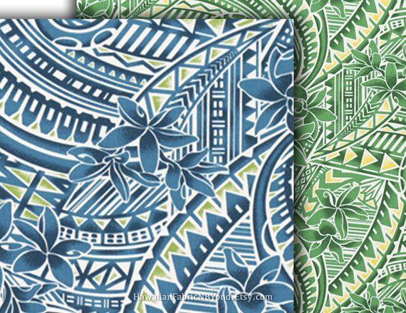 ハワイアンファブリックハワイの生地布トロピカルハワイの花緑青