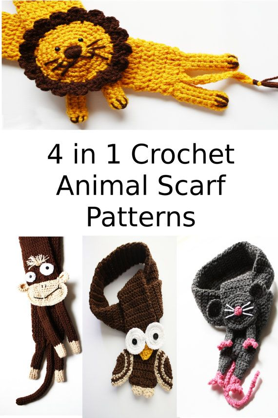 Instant download 4 Crochet Animal Scarf Patterns in by missdee1