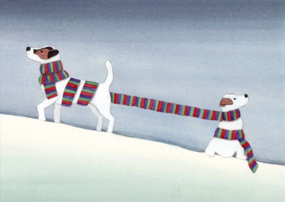 Jack Russell terriers JRTs wrapped up for by watercolorqueen