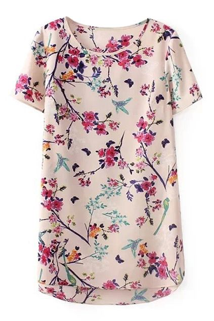 ROMWE Floral Print Round Neck Short Sleeves T-shirt by: Romwe