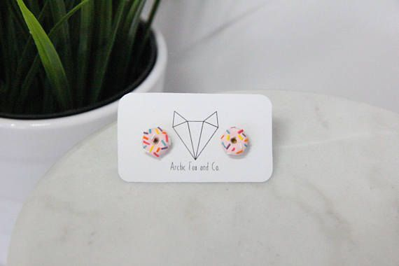 Handmade pink donut polymer clay earrings