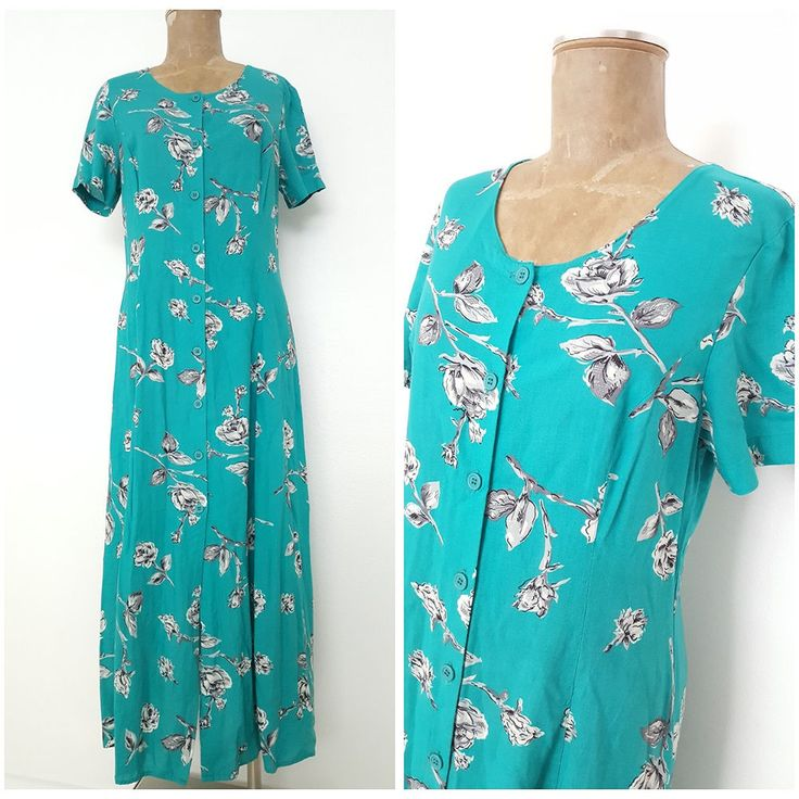 Vintage 80s Floral Print Maxi Dress Size Medium Button Down Retro Grunge  #Together #MaxiDress #Casual
