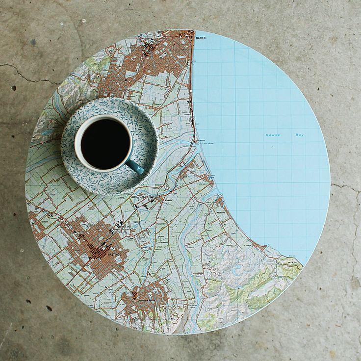 circular map table, napier