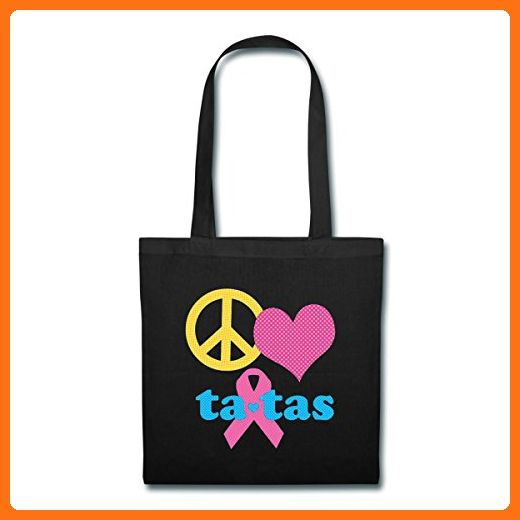 Save The Ta-tas Peace Love Ta-tas Tote Bag by Spreadshirt, black - Shoulder bags (*Amazon Partner-Link)